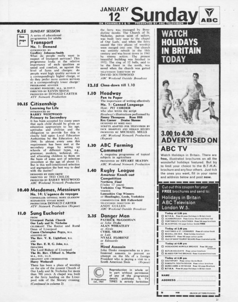 First page of listings from the TVTimes