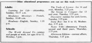 Other educational programmes, from page 7